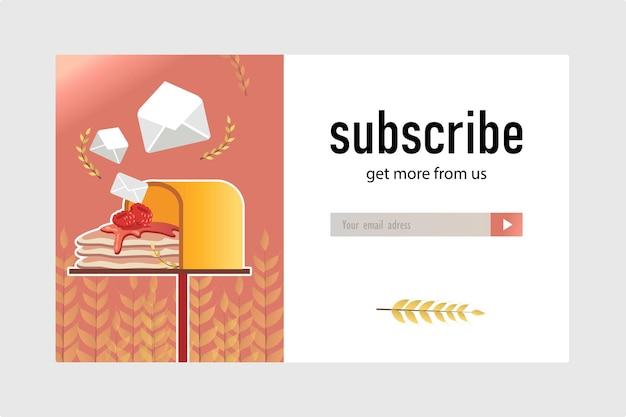 パン屋の電子メールサブスクリプションデザイン。メールボックスにおいしいパンケーキが入ったオンラインニュースレターテンプレート。ペストリーと菓子のコンセプト
