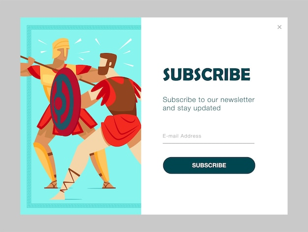 고대 전사들이 싸우는 이메일 구독 디자인