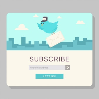 Email subscription with blue bird postman and paper letter
