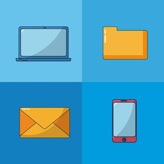 Email and technology set of icons vector illustration graphic design