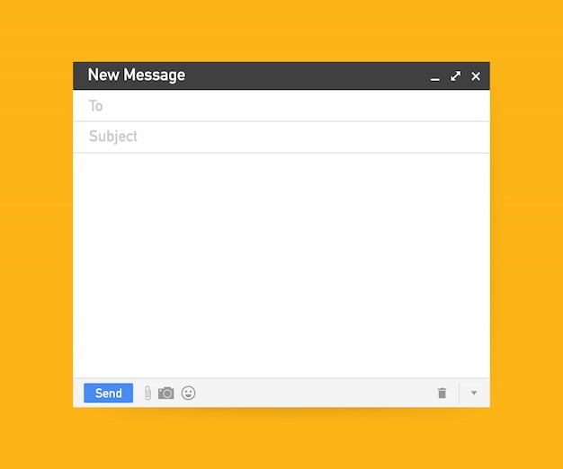 Email template. blank e-mail browser window.