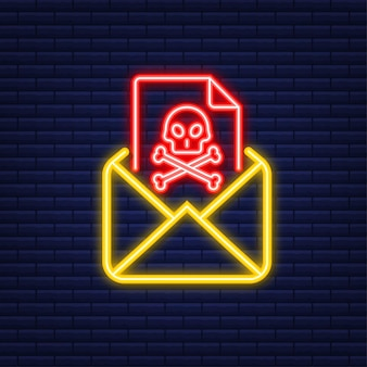 Email virus. neon icon. computer screen. virus, piracy, hacking and security, protection. vector stock illustration.
