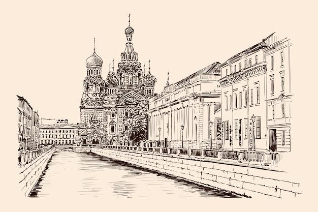 Набережная санкт-петербурга с видом на храм и постройки в классическом стиле. эскиз ручной работы на бежевом фоне.