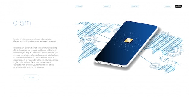 組み込みsimの概念。新しいモバイル通信技術。モバイルsimカード技術とネットワークのコンセプトです。未来的な投影esimカード。イラストsimカード。ワイヤレス携帯電話。