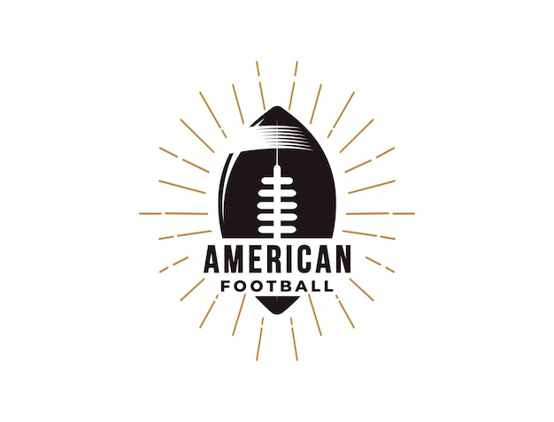 Emblem american football sport logo with ball