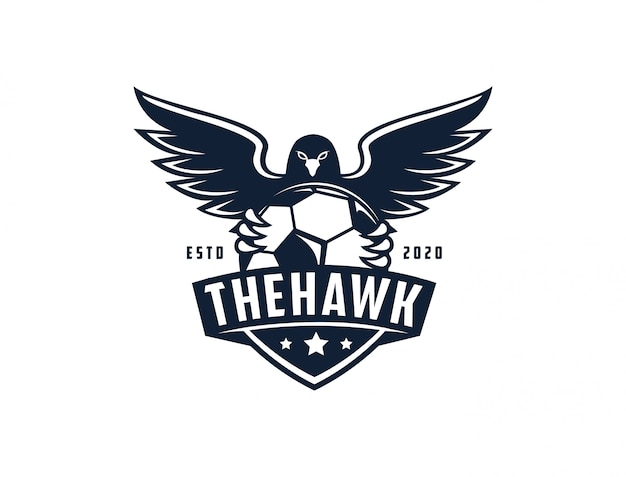 Emblem badge seal eagle hawk football soccer logo template