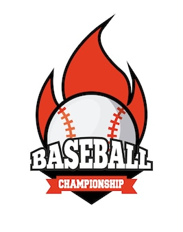 Emblem of baseball sport with ball on fire icon