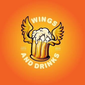 エンブレムビールの飲み物と翼