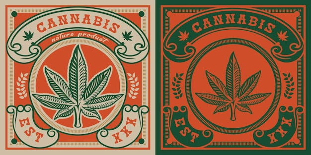 Emblem of cannabis leaf .