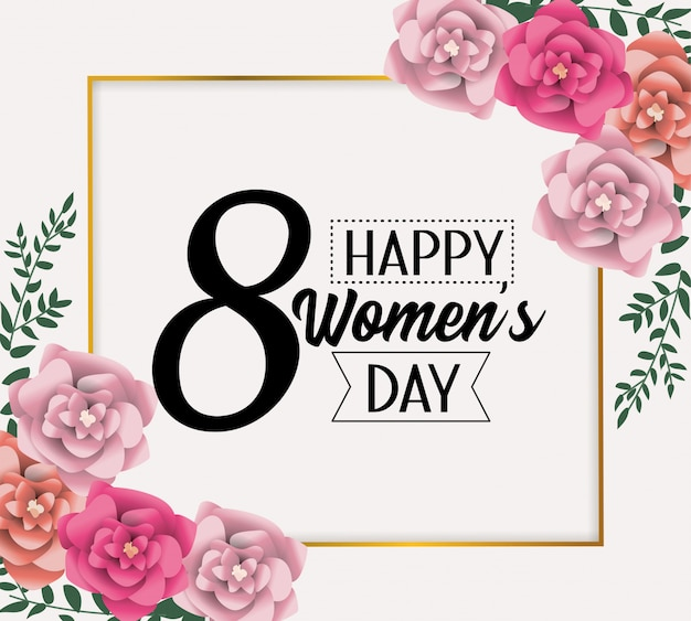 Emblem card with roses to womens day celebration