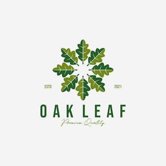 Emblem or circle of oak leaf logo vector, leaves design for business, meditation by oak of illustration vintage, healthy logo, acupuncture spa