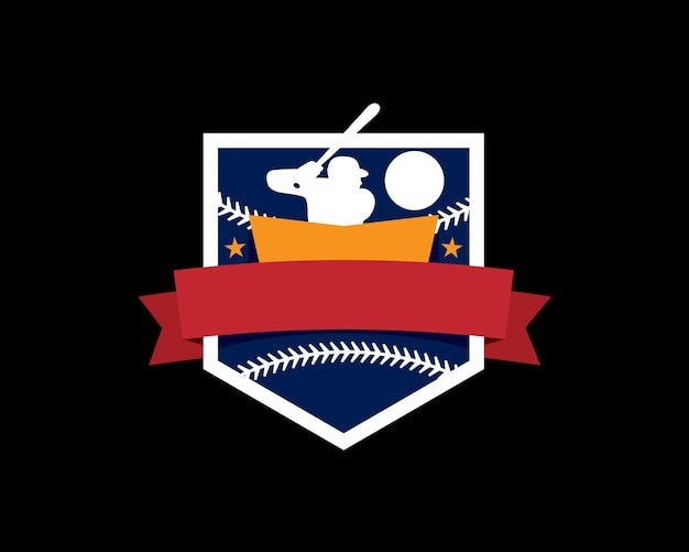 Emblem coat of arm logo of basketball with men athlete holding bat ready to hit ball