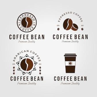 Emblem of coffee bean logo vintage vector design illustration