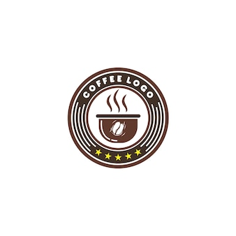 Emblem coffee logo Premium Vector