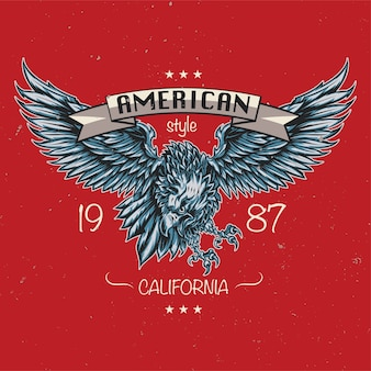 Emblem of eagle. american style. california 1987