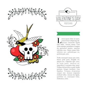 The emblem of eternal love. heart, skull and bird.
