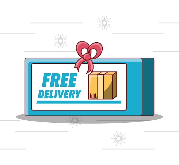 Emblem of free delivery design with carton box  icon
