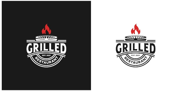 Эмблема гриль ресторан винтажном стиле