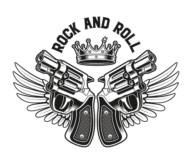 Emblem of guns with wings