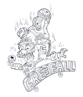 Emblem of a guy falling from a skateboard
