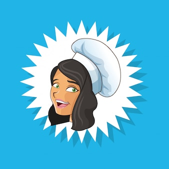 Emblem happy chef or cook icon image