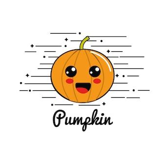 Emblem kawaii happy pumpkin vegetable icon