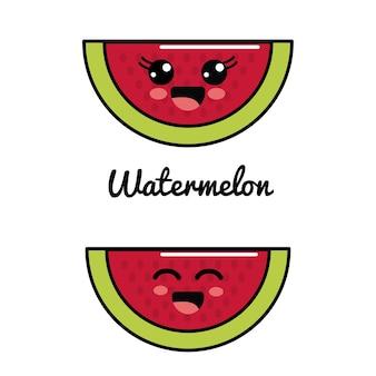 Emblem kawaii happy and scared watermelon icon