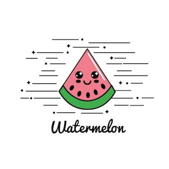 Emblem kawaii happy watermelon icon