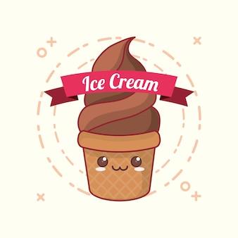 Emblem of kawaii ice cream with decorative ribbon over white background