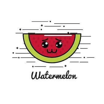 Emblem kawaii sad watermelon icon