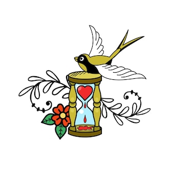 The emblem of love. hourglass, heart and bir