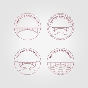 エンブレムニューリバージョージブリッジロゴラインアートベクトルイラストデザイン