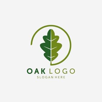 Emblem of oak leaf logo vector design vintage illustration, healthy logo, acupuncture spa logo vintage