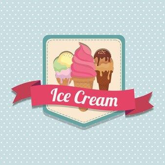 青い背景の上に異なる味のアイスクリームコーンとアイスクリームのエンブレム