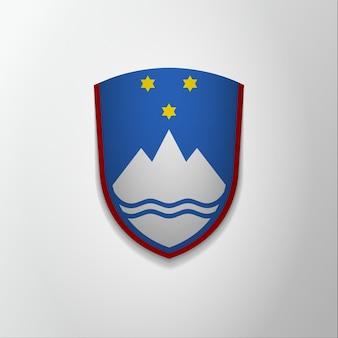 スロベニアのエンブレム。 12月26日。ベクトルイラスト。星と山と青い盾。紋章、紋章。国家のシンボル。グラフィックデザインテンプレート。