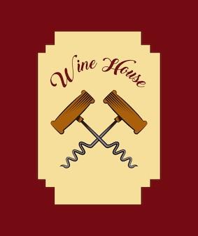 コルクスクリューアイコン付きワインハウスのエンブレム