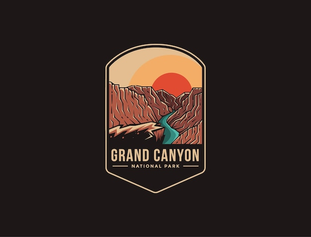 Emblem patch logo of grand canyon national park Premium Vector