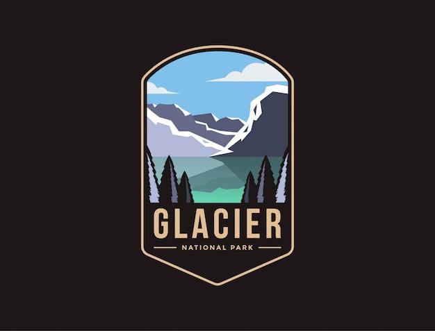 グレイシャー国立公園のエンブレムパッチのロゴイラスト