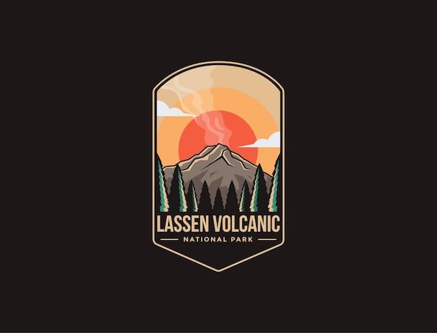 Lassen 화산 국립 공원의 엠블럼 패치 로고 일러스트