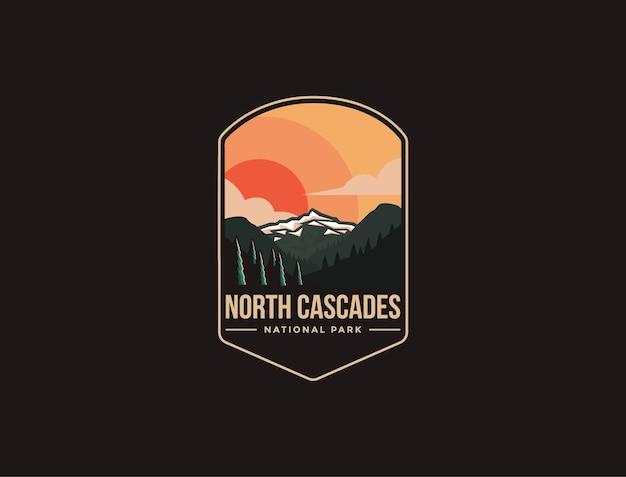 Эмблема патч логотип иллюстрации национального парка северный каскад на темном фоне