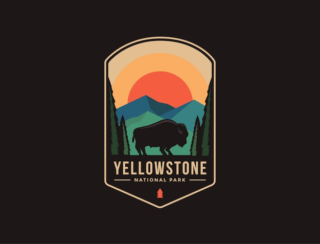 Emblem patch logo illustration of yellowstone national park