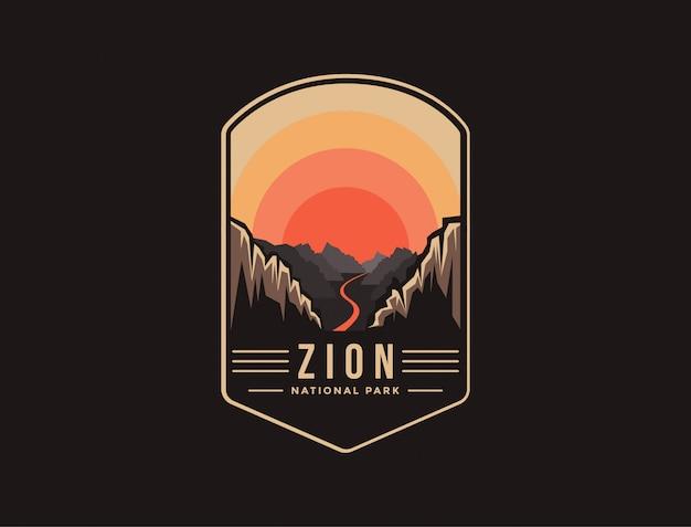 Emblem patch logo illustration of zion national park