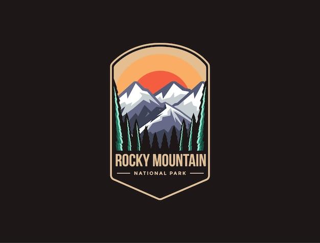ロッキーマウンテン国立公園のエンブレムパッチロゴ