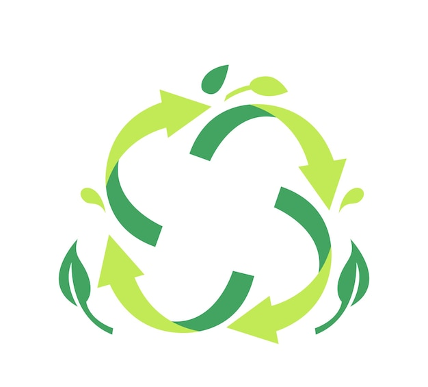 Emblem for recyclable package. recycle symbol of green circulate rotating arrows with tree leaves garbage transformation process symbol for poster or eco banner, reuse litter. vector illustration