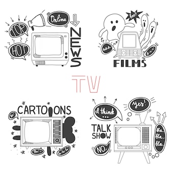Emblem set for cartoons news films talk shows