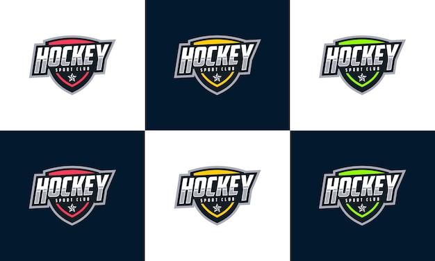 Эмблема спорт логотип с щитом набор красочных шаблонов