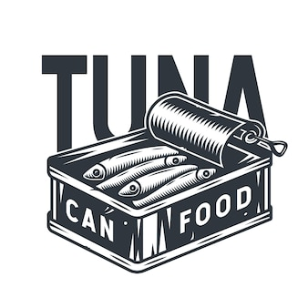 Emblem of sprat tuna fish in tin can for camping