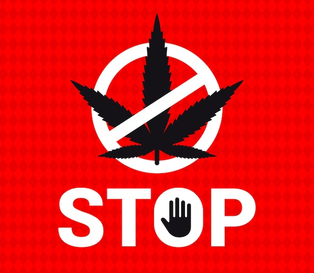 Emblem stop marijuana on a red background. crossed out plant.