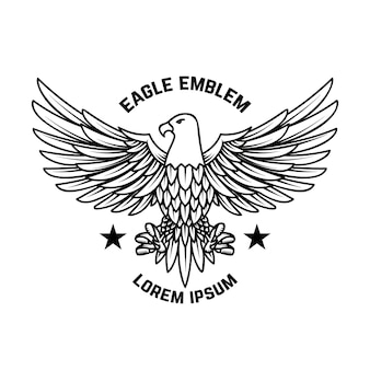 Emblem template with eagle in engraving style