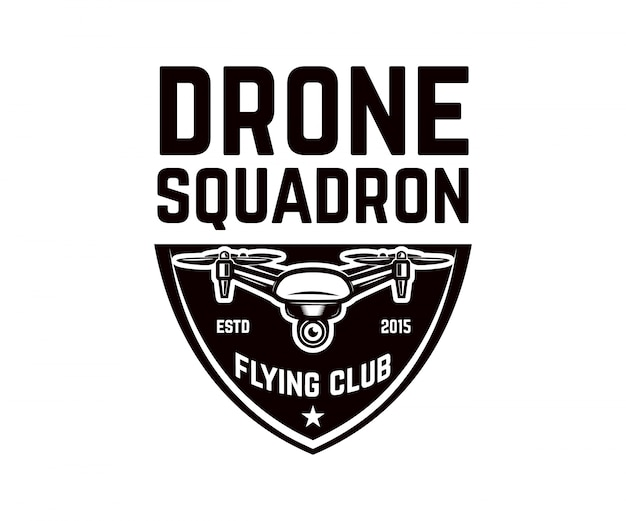 Emblem template with flying drone.  element for logo, label, .  illustration